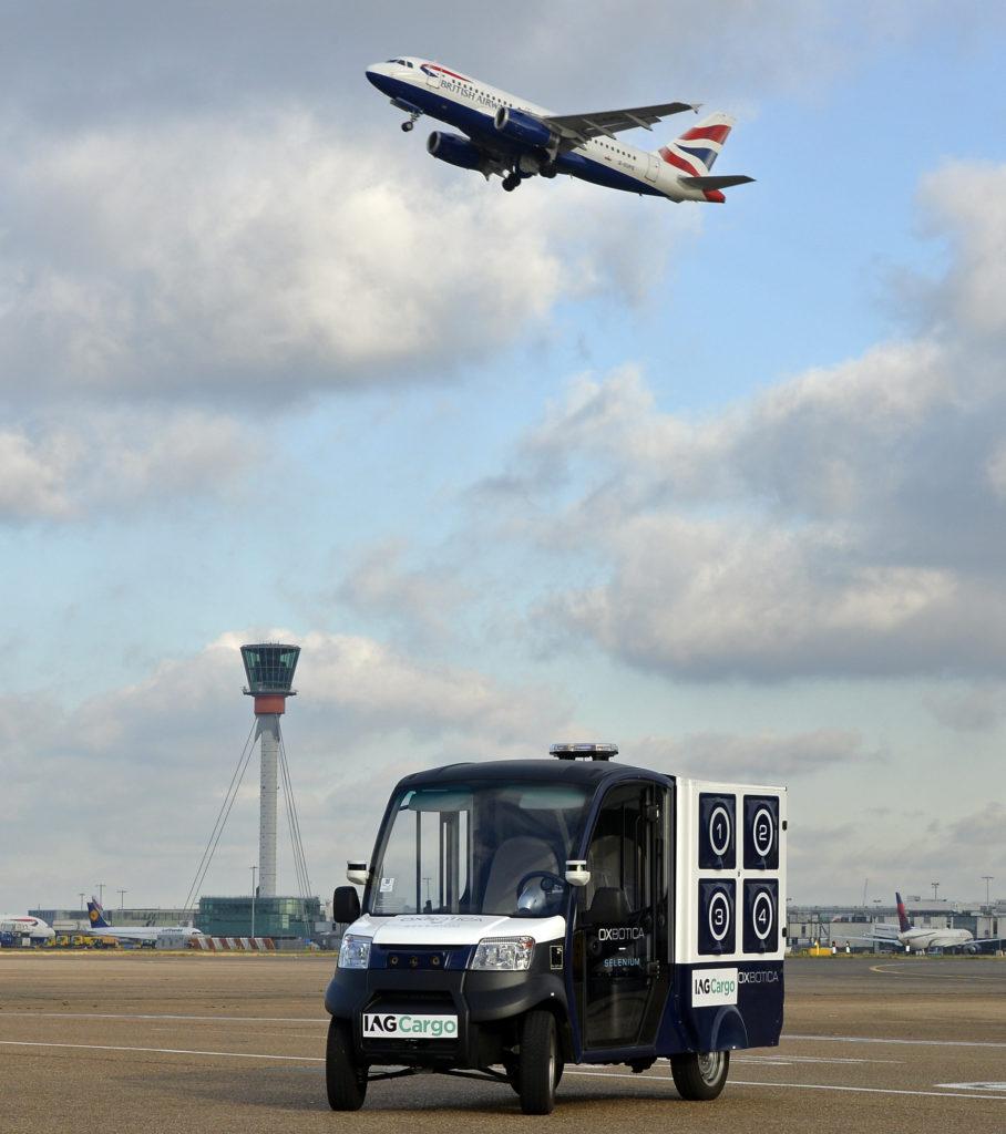 Oxbotica's CargoPod at Heathrow airport (IMage courtesy of Oxbotica)