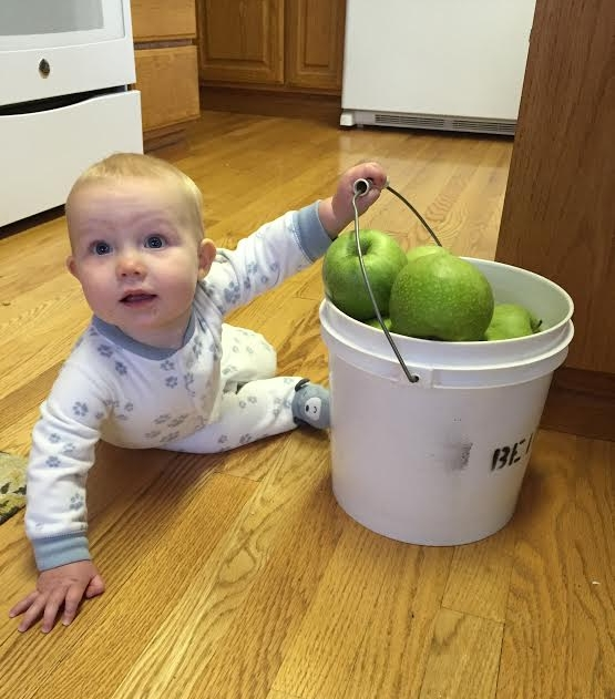 "Hazel says, ""These Granny Smith sure are good!  Let's go pick some more Mom!"""