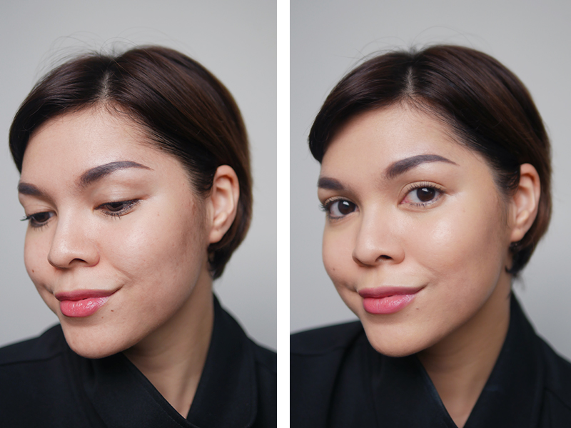 Tampilan sebelum (kiri) dan sesudah (kanan) mengaplikasikan Bobbi Brown Skin Foundation Cushion Compact.