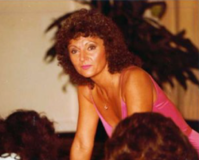 DOris as ifbb head judbge at the 1981 ms. olympia