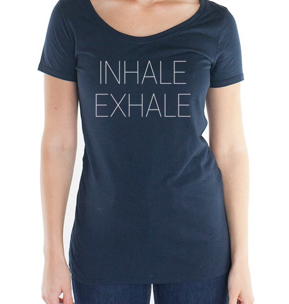 "The ""Inhale/Exhale"" women's tee is a lovely navy shade. It's made of organic jersey cotton and bamboo, which basically means it's super soft, breathable, and cool, especially as we head into the summer months. Wear it as a reminder to slow down during your day, to take a breath in between moments, and to invite more presence into your life. Anti-microbial + fitted, hip length design. $32"