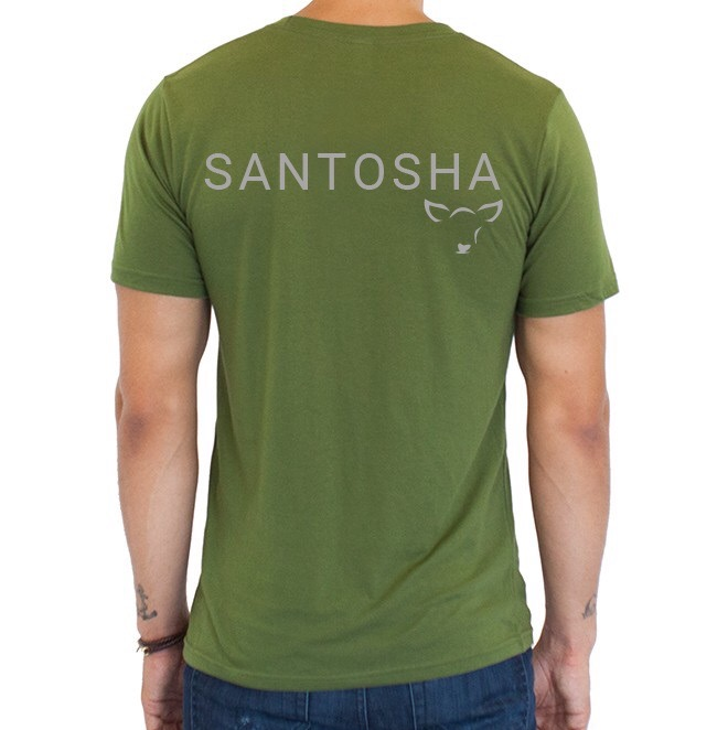 "The ""Santosha"" unisex tee comes in Herb (a fabulous olive green) and is made of a blend of organic hemp and organic jersey cotton. Super soft + anti-microbial (your shirt won't stink if you sweat) + a great, relaxed fit. What does Santosha mean? Santosha is one of the Niyamas of our practice, meaning practicing contentment in life. What a beautiful reminder to wear every day, right? $32"