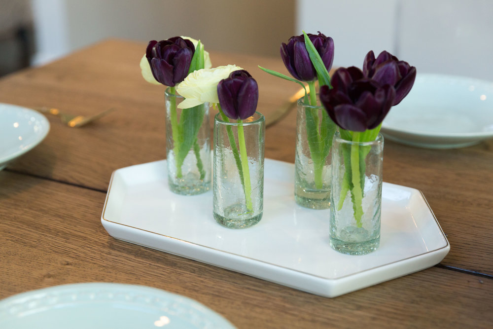 The Bambeco Recycled Glasses and the Rosanna Tray to create a simple and fresh centerpiece for any spring celebration!