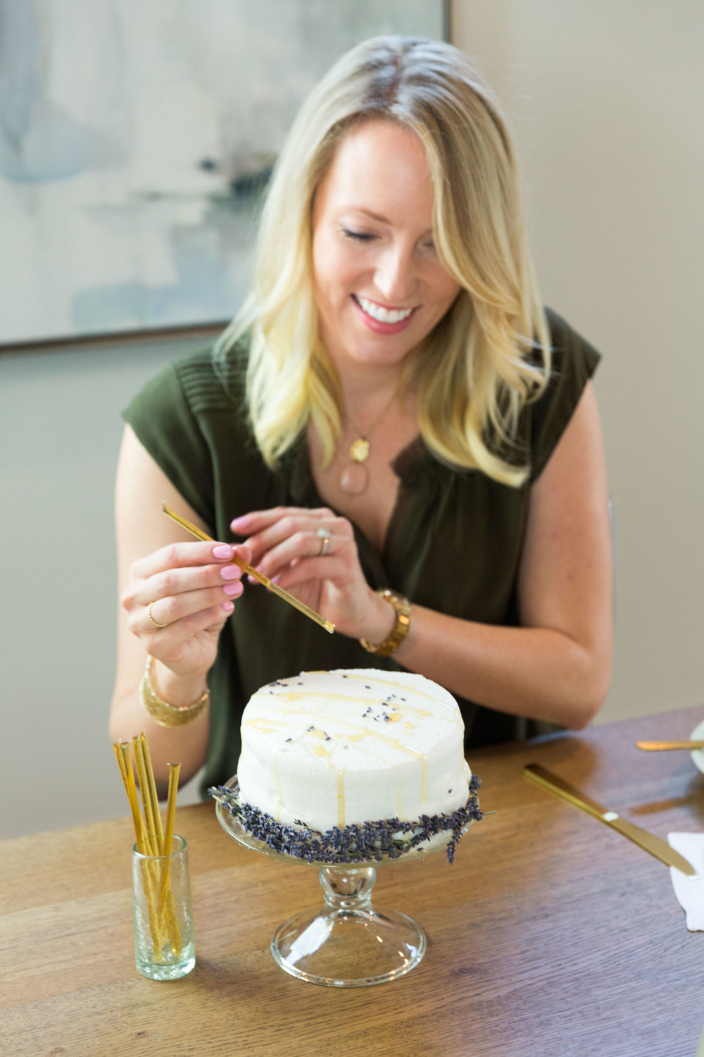 A celebration is not complete without something sweet! To keep things simple, I purchased a plain vanilla cake and added my own homemade Lavender Lemon Icing using Royal Rose Syrups. I decorated the cake with culinary lavender and drizzled it with Bee Local Honey Sticks for a rustic look.