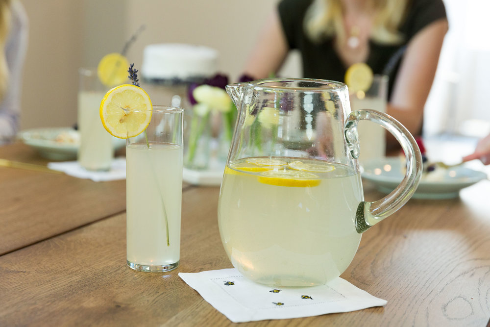 Keep things simple by providing a fun, fresh beverage that will please just about anyone.  What better drink than lemonade? I added a little twist by using Royal Rose's Lavender Lemonade recipe. Garnish with a lemon wheel and you are good to go.
