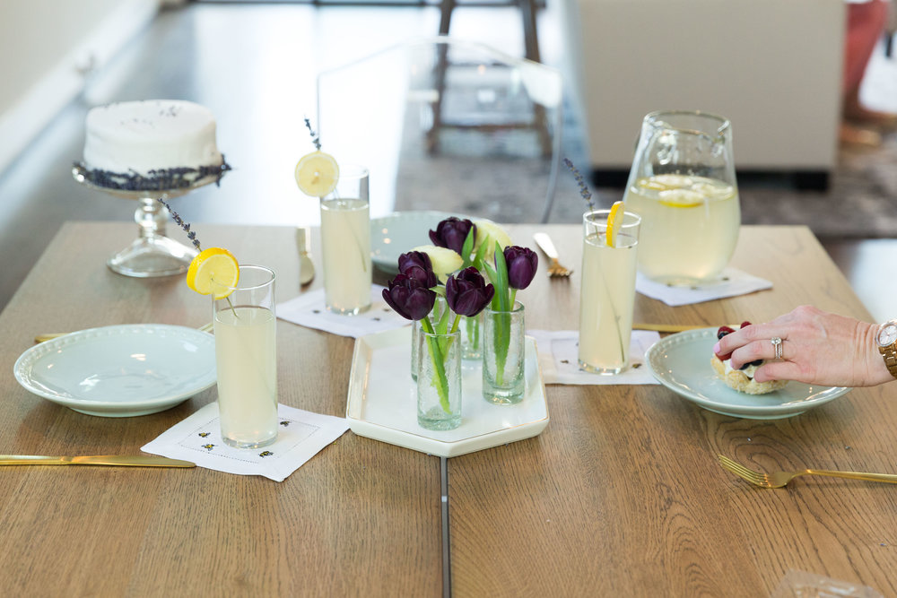Our Spring table isn't complete without a few sweet accents.  For a fun twist, I chose gold flatware and our Signature Mostess Cocktail Napkins from Katy Michele Designs.