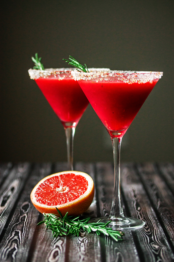 Raspberry Grapefruit & Rosemary Martini with Ginger via  Cooks with Cocktails