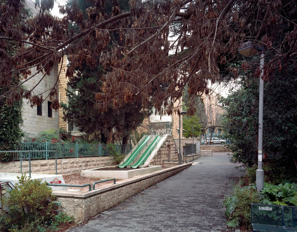 "Playground/Two Slides, Jerusalem,  2008, Chromogenic print, 20"" x 30"""
