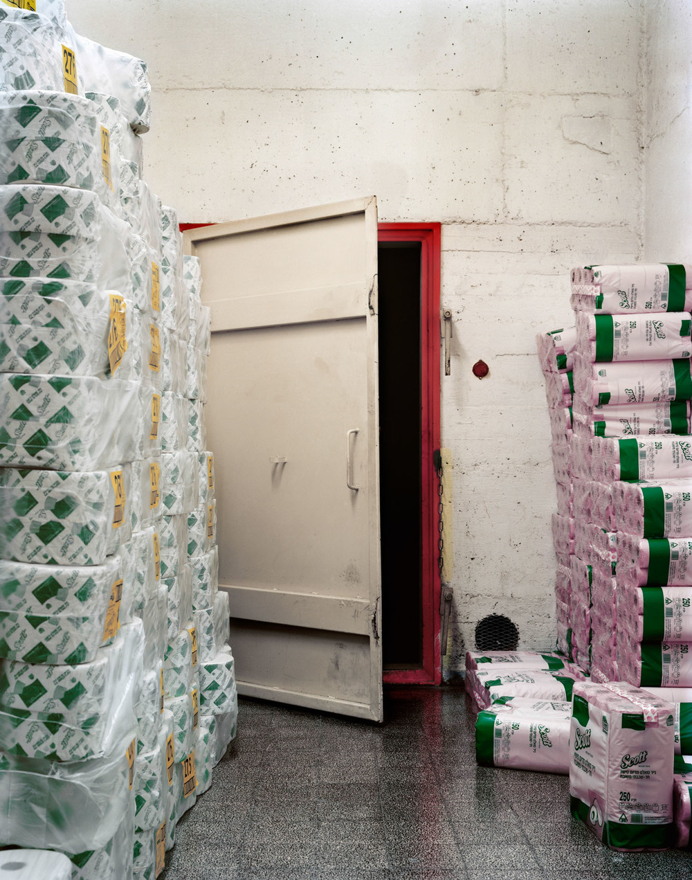 "Toilet Paper Stacks, Hebrew University, Mount Scopus, Jerusalem,  2007, Chromogenic print, 30"" x 20"""