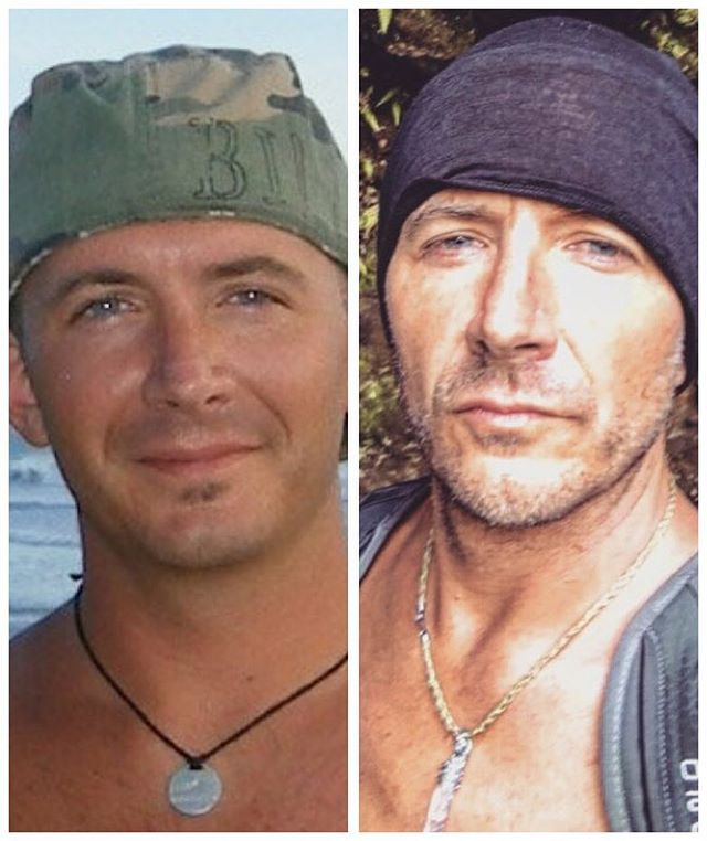 36 to 46. apparently you age in that decade of life! necklace game strong. still traveling and wearing head gear