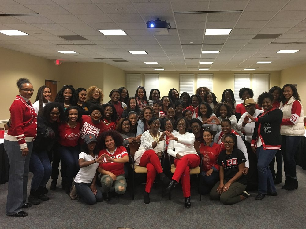 Women of Omicron Iota at the 35th Anniversary Celebrating during 2016 Homecoming