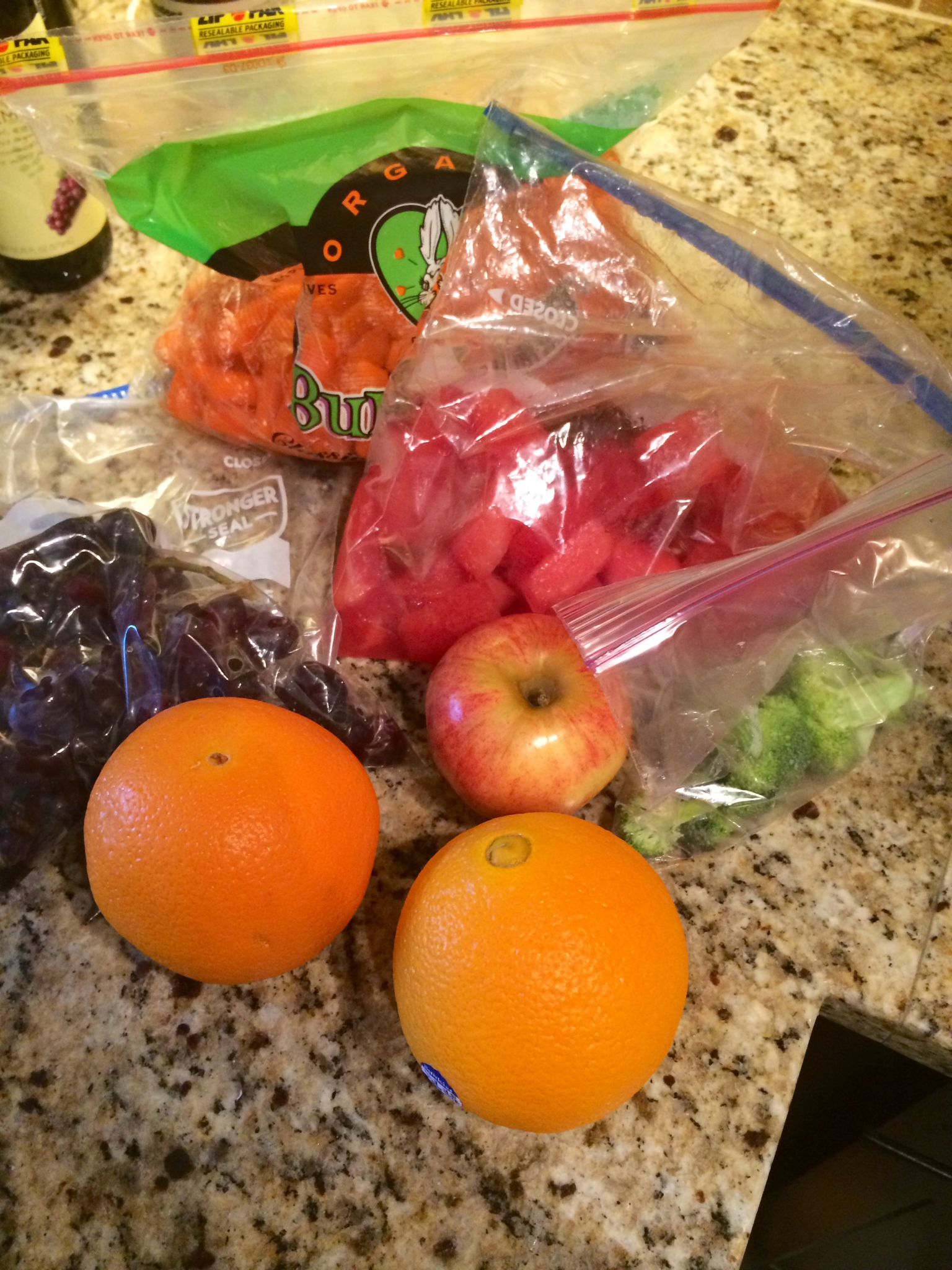 Fruits and veggies for the road.