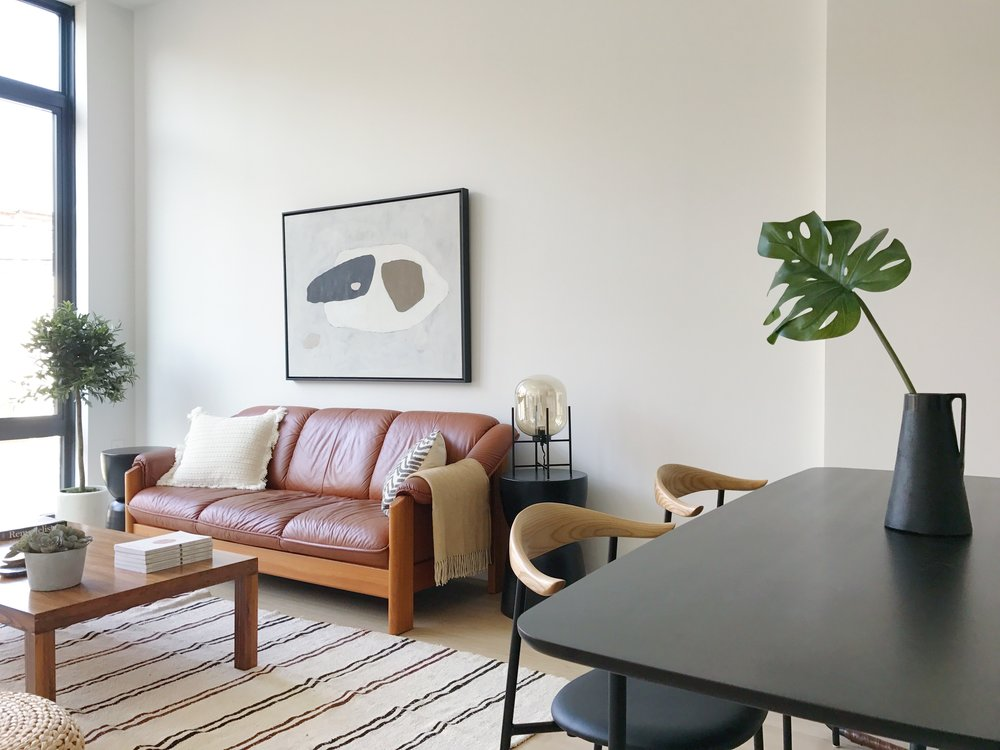 Hovey Design Staging - 358 Douglass - Living Room with Dining.JPG