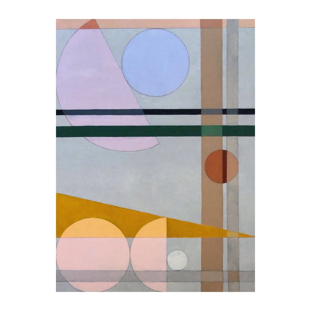 Ocre Triangle, Pink Sphere | 36x48"