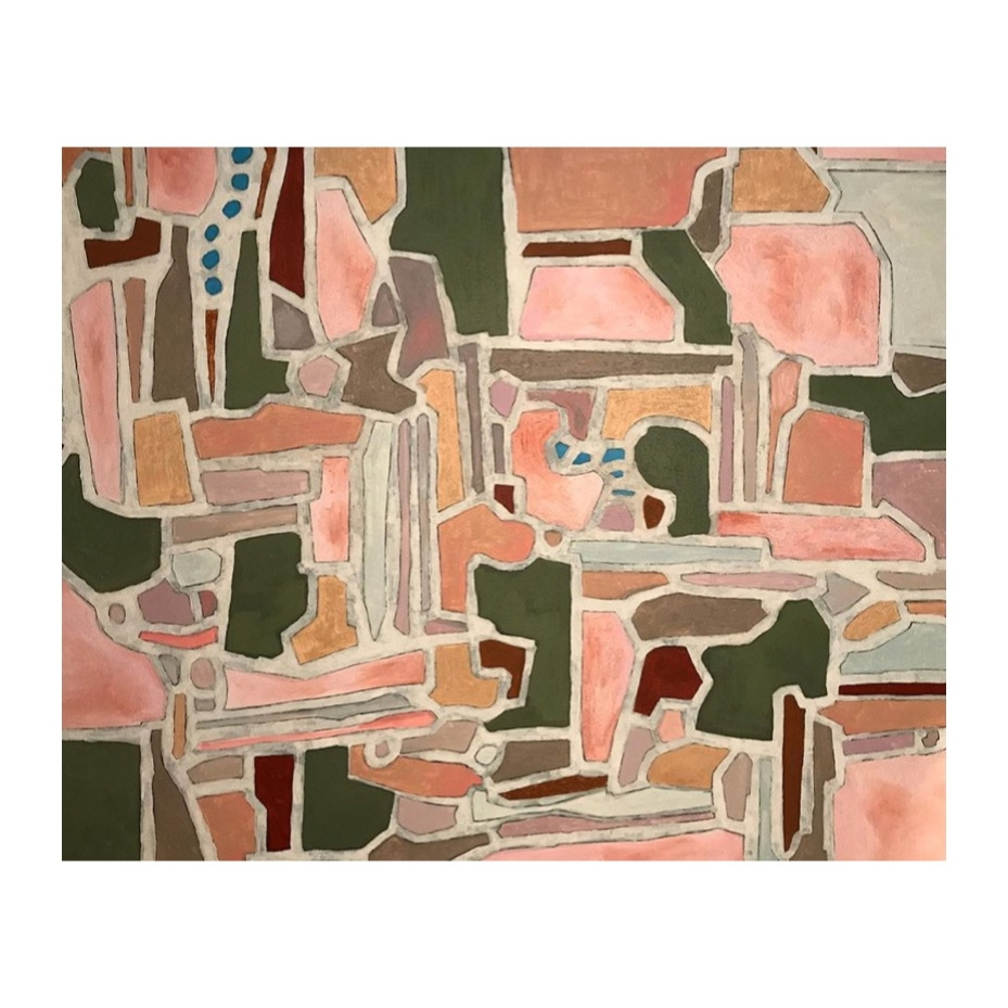 Pink Terrazzo | Acrylic and Pumice on Canvas | 48x60"