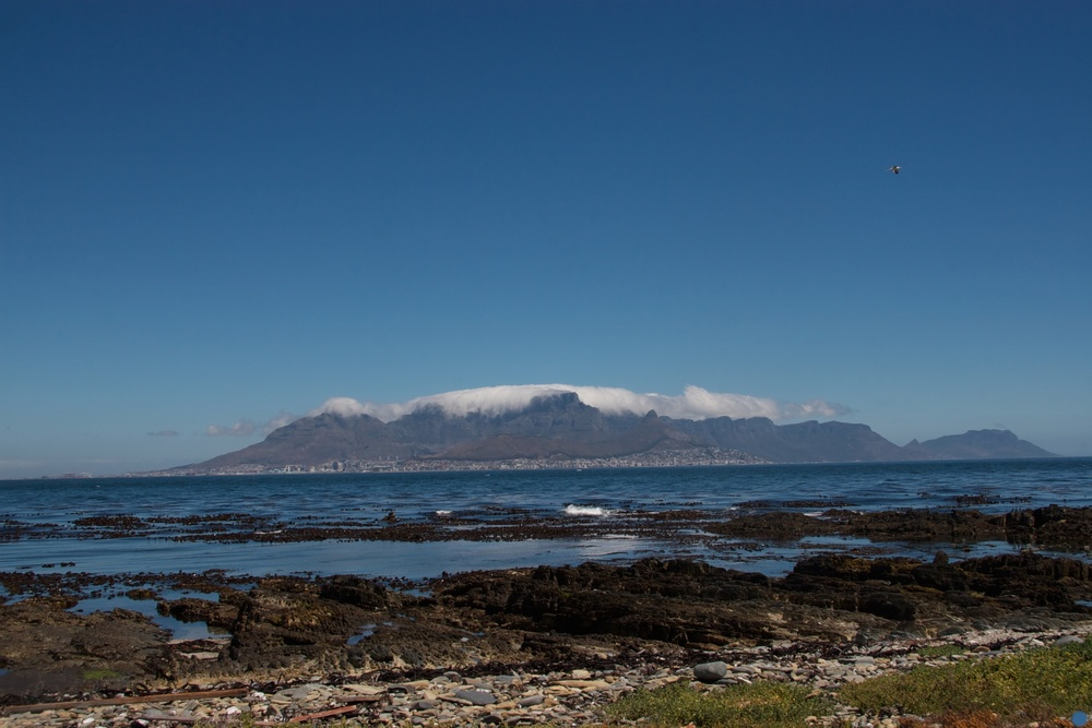 Nelson Mandela's daily view of Cape Town during 26 years. Robben Island, South Africa.