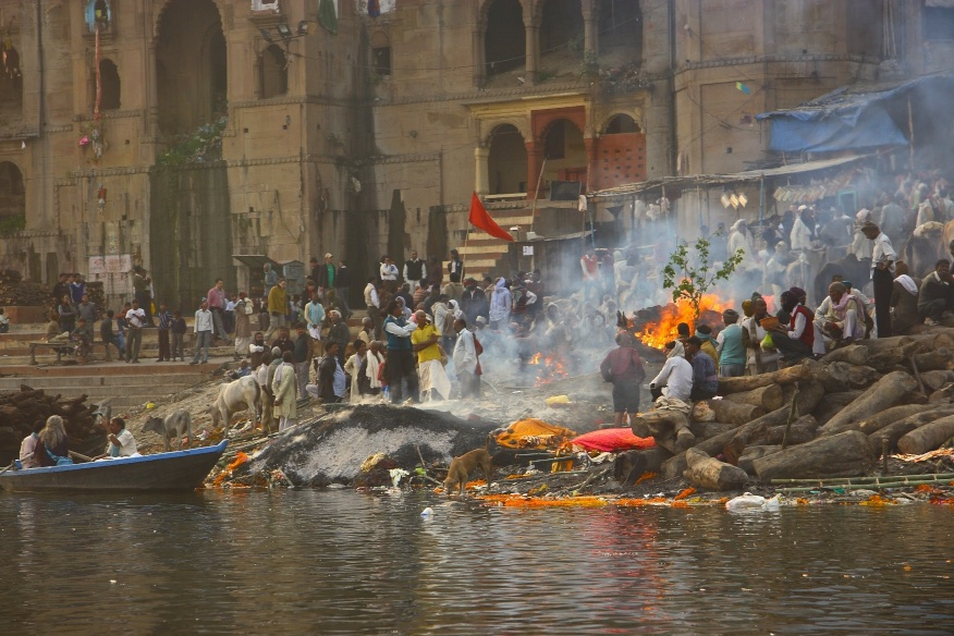 Funeral pyres by the Ganges river. Varanasi, India.