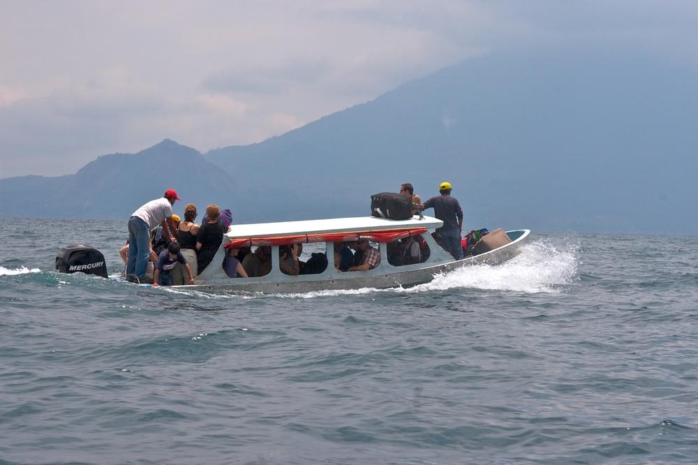 Ferry overload. Lago Amatitlán, Guatemala