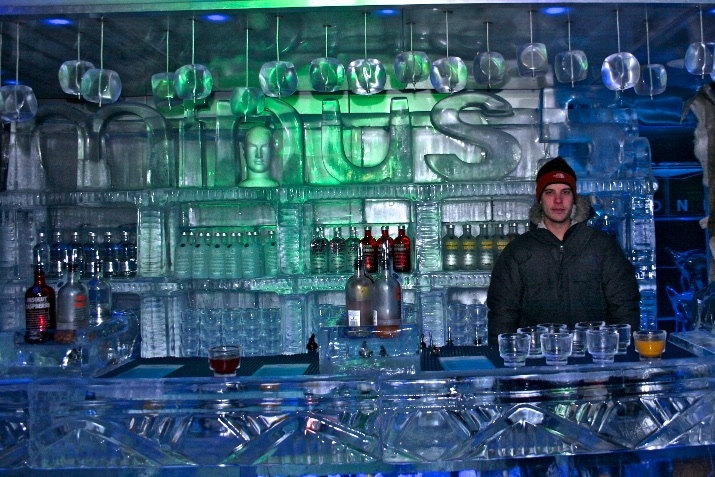 Ice bar with chilled drinks. Sydney, Australia