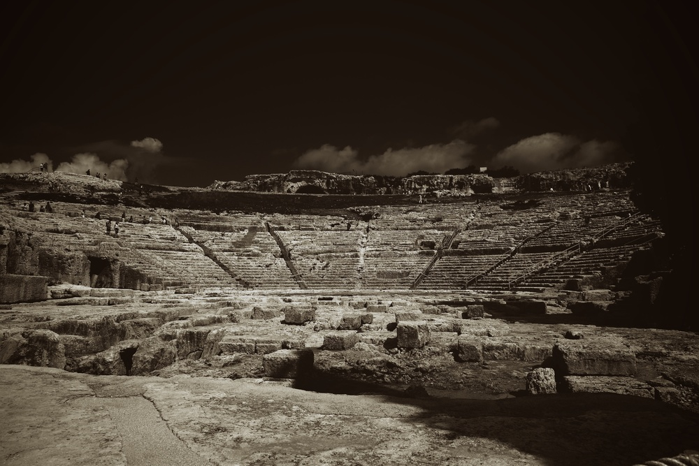 The Roman amphitheatre in Syracuse. Sicily, Italy.
