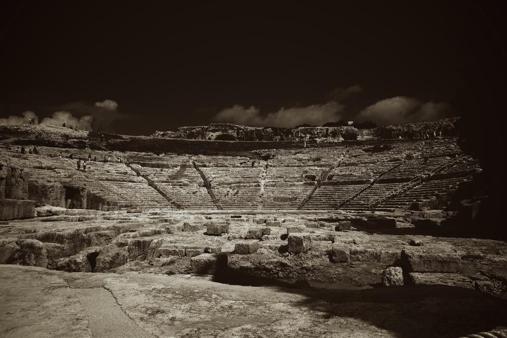 The Roman amphitheatre in Syracuse. Sicily, Italy.