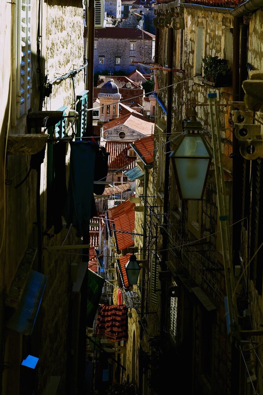 A chaotic corner of Dubrovnik, Croatia.