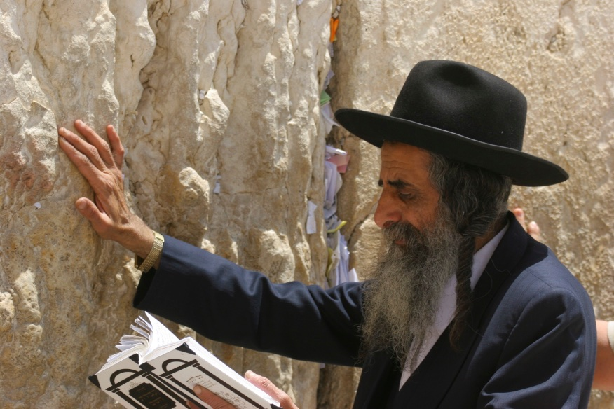 Praying by the Wailing Wall, Jerusalem.