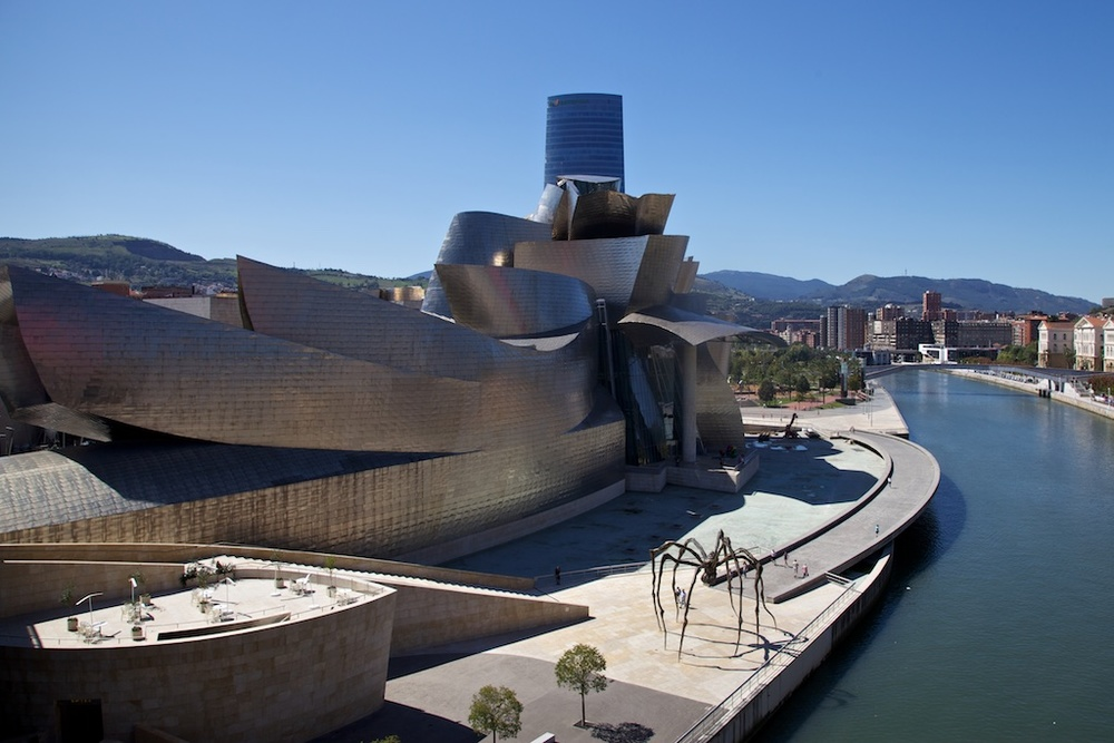 The titanium-clad Guggenheim museum in Bilbao, Spain.