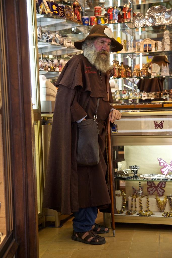 A pilgrim who made it to Santiago de Compostela, Spain.