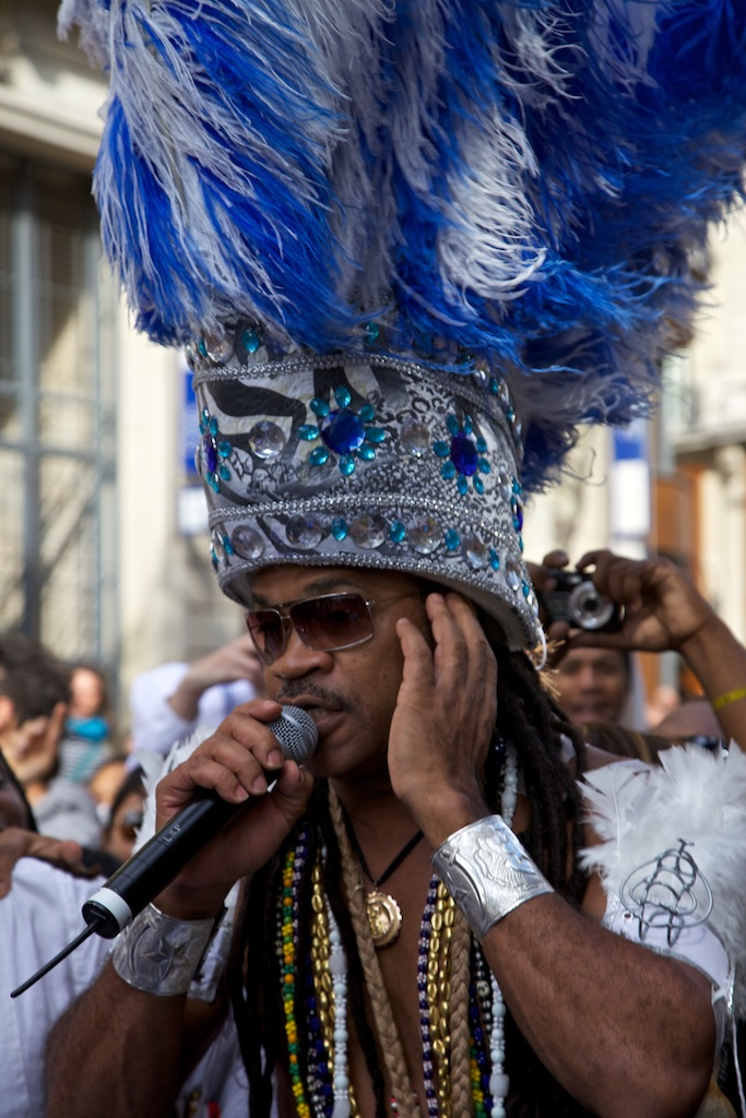 Brazilian singer in carnival mood.