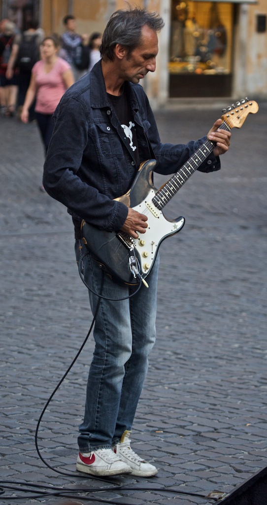 A rock 'n' roller on the streets of Rome.