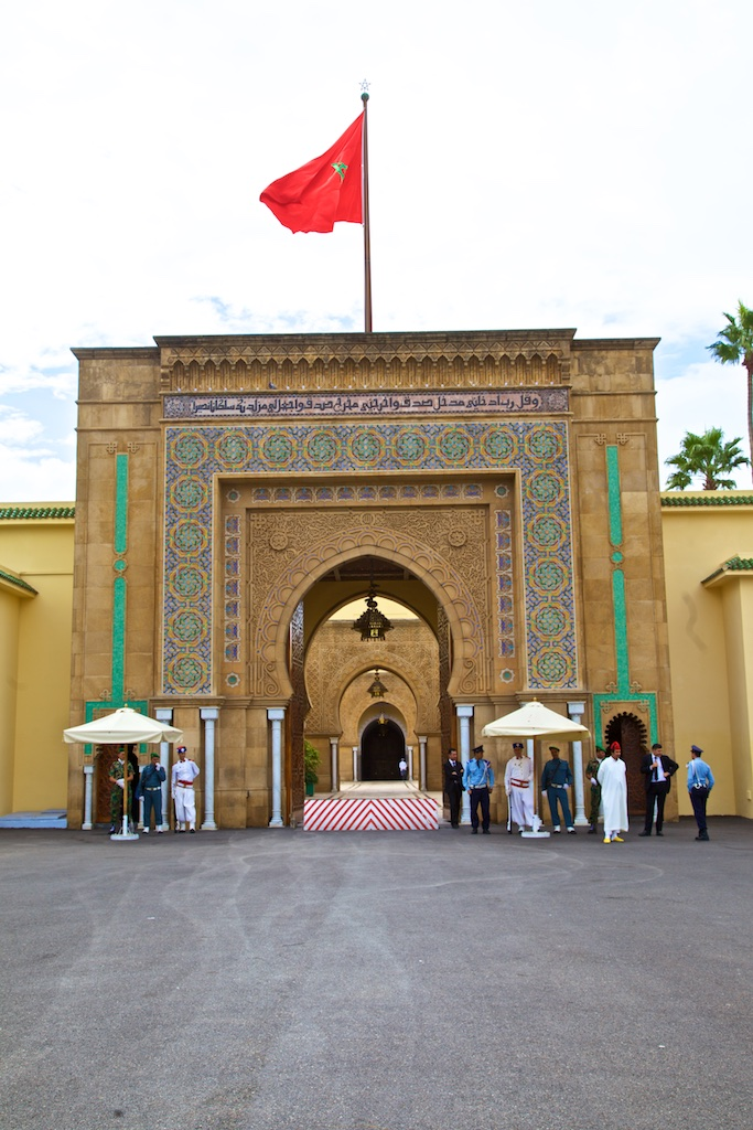 The entrance to the royal palace guarded by all the countries armed forces. Rabat, Morocco.