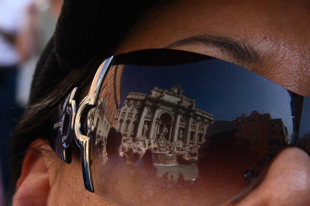 A tourist's view of la Fontana di Trevi in Rome, Italy.