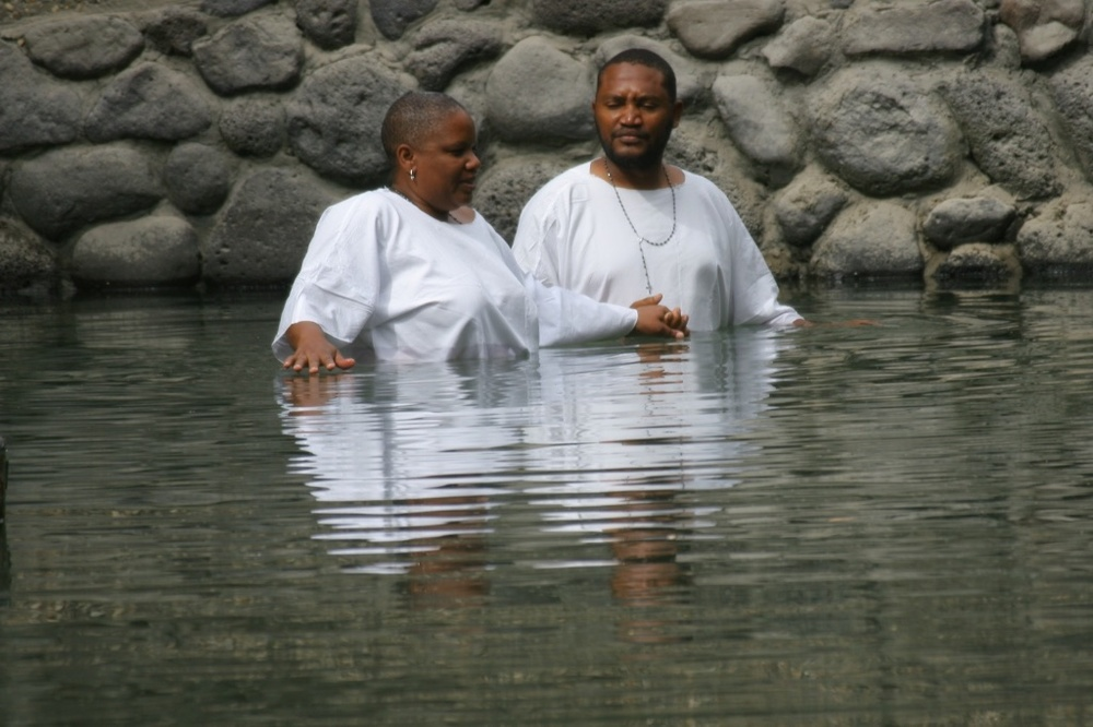 Re-baptised in the Jordan River, Israel.