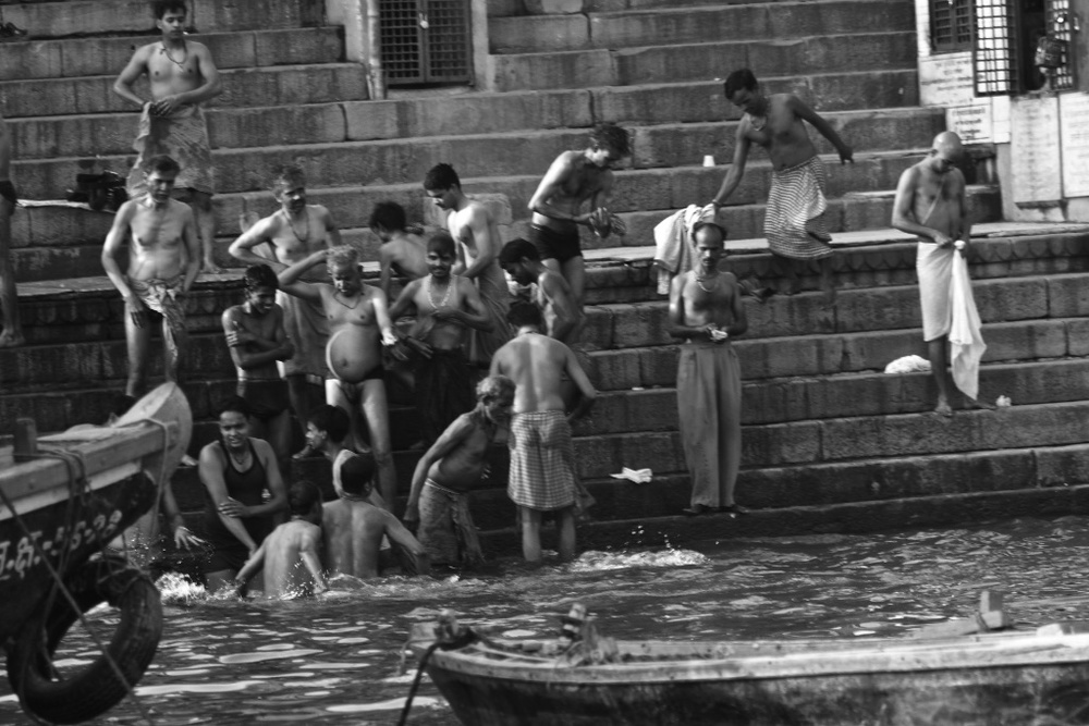 The daily bath in the holy river Ganges. Varanasi, India