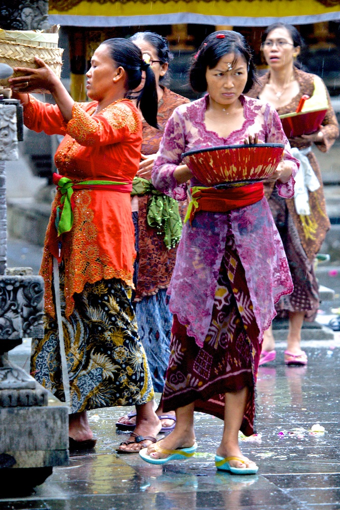 Offerings in the rain. Ubud, Bali, Indonesia