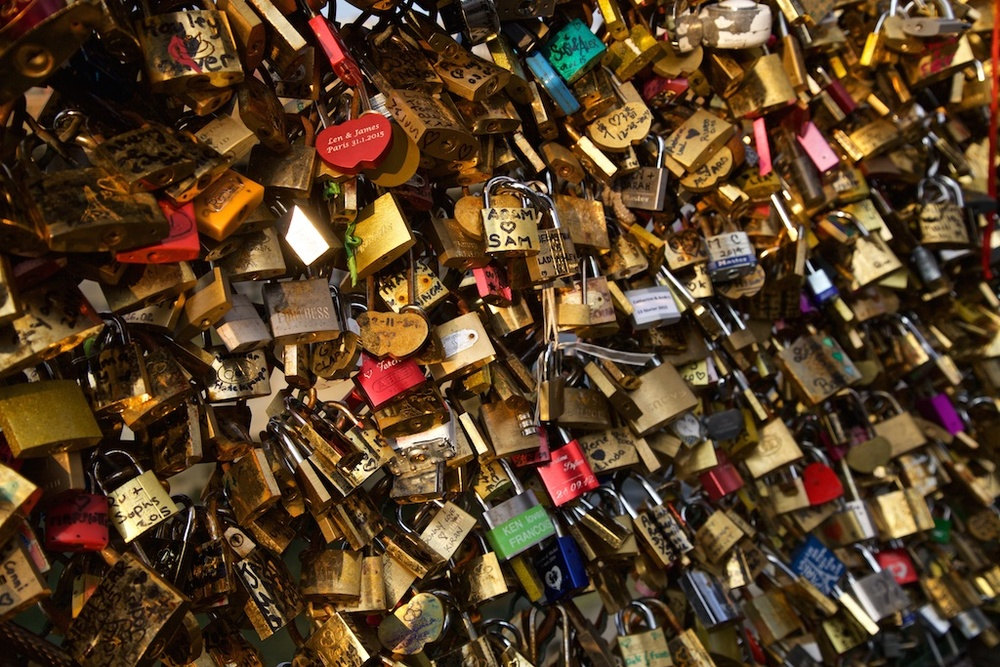 The locks of love that threatened to overpower a bridge in Paris, France.
