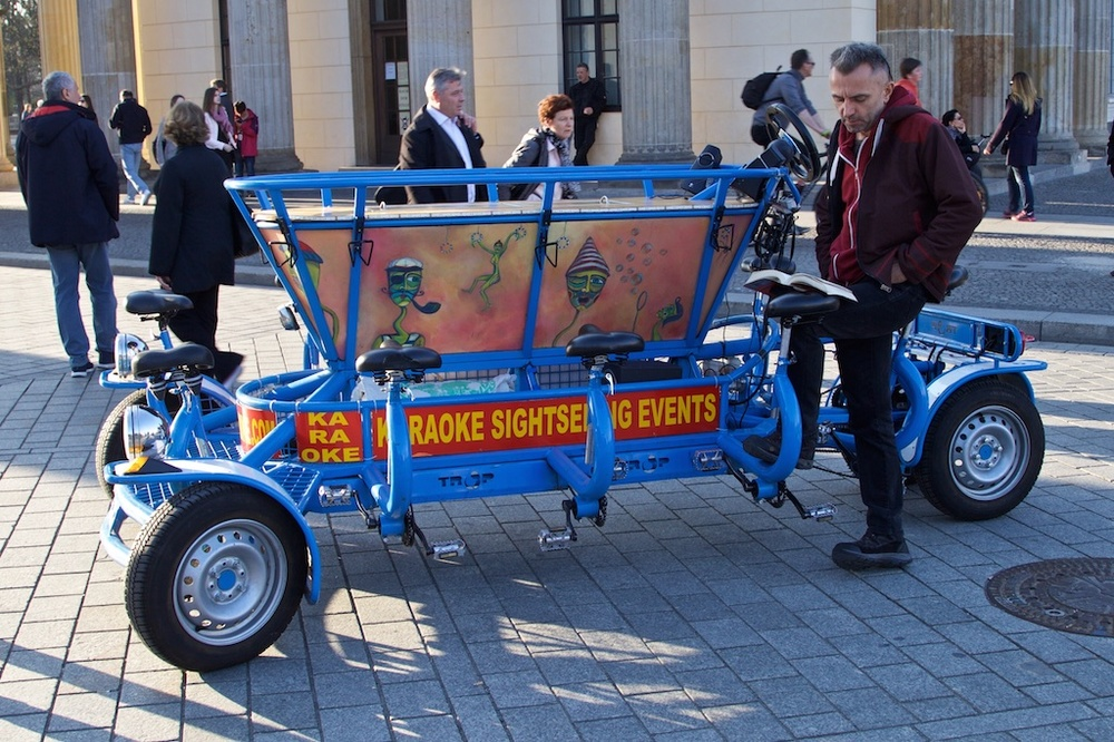 A different kind of sight-seeing vehicle: a moving bar in Berlin, Germany.