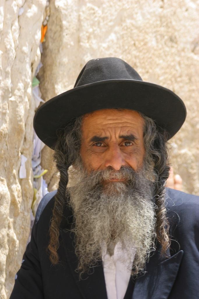 Grey beard and corkscrew ringlets. Jerusalem. Israel.