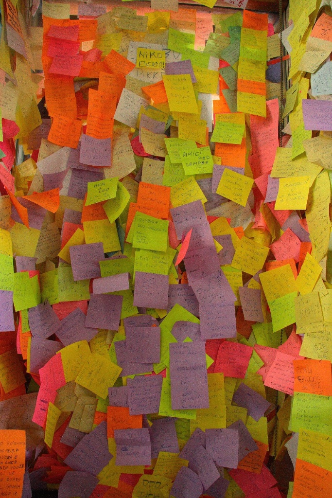 Sticky note communication. Rome, Italy.