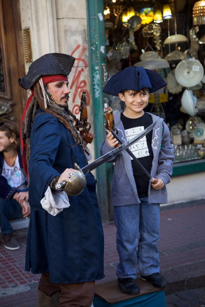 Young pirate about to walk the plank. Buenos Aires, Argentina