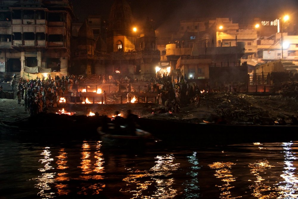 The night shift cremation task force by the Ganges River, India.