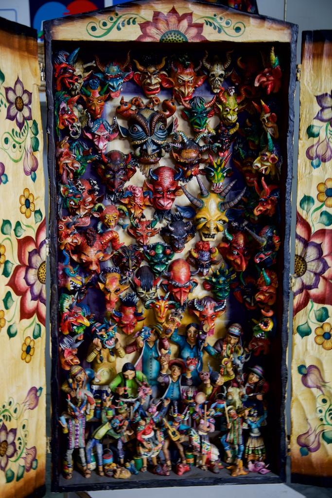 A collection of devil's masks