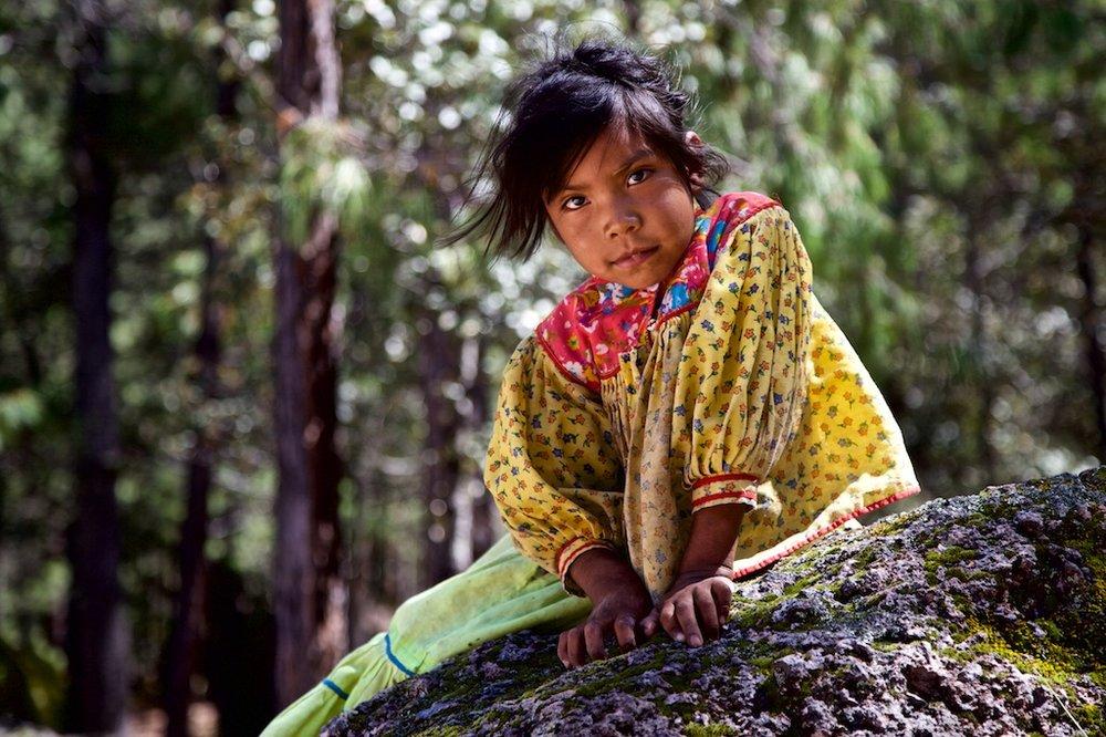 Tarahumara girl, looking ahead at the future. Barranca dl Cobre, Mexico.