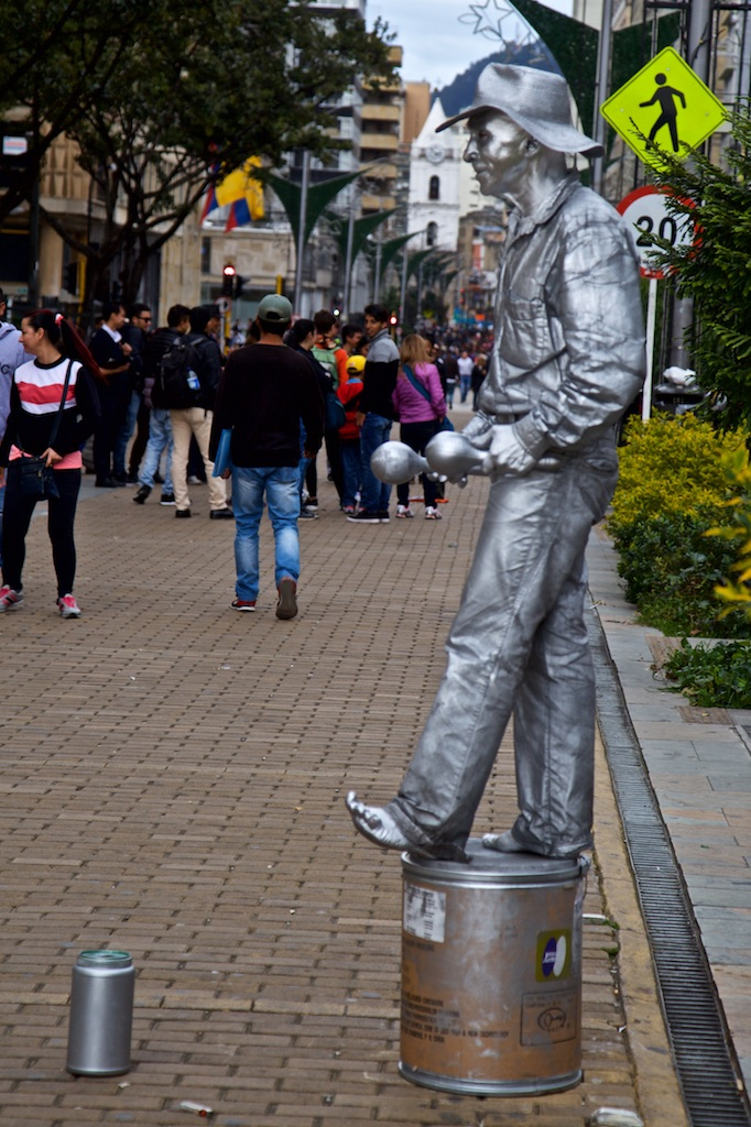 - Street entertainment: A silver lingot trying to barefoot make his fortune not far from the Museum of Gold in Bogotá, Colombia.