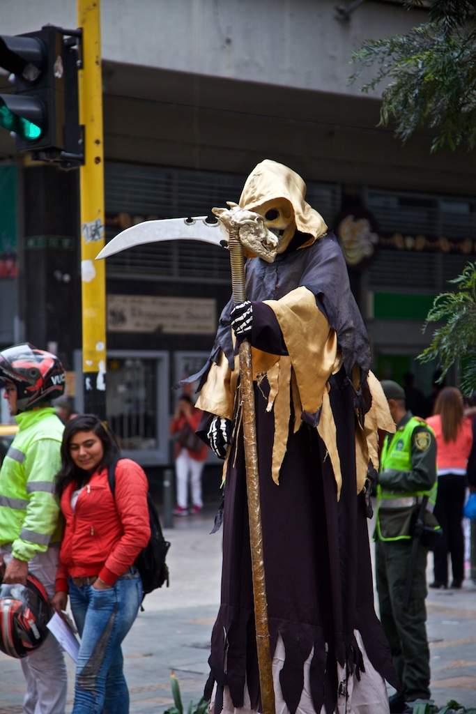 - Street Entertainment: The idea behind this act appears to be that, if you want to make a living, you better dress up as death.