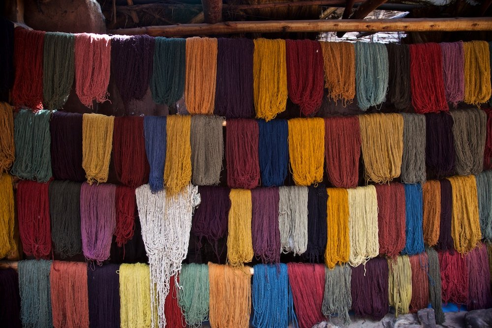 - Colours: Since ancient times, llama yarn have been tinted with different local plants and insects. Awana Kancha, Peru.