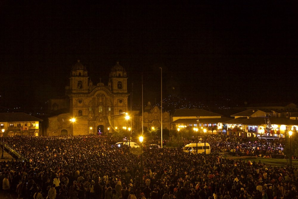 - People, Customs & Crafts: The main plaza in Cusco, Peru, with hundreds of thousand fanatics waiting for the procession during Easter celebrating