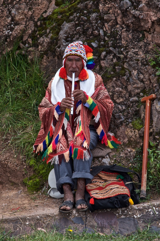 - People, Customs & Crafts: A Quechua fluteplayer in Quengo, Peru.