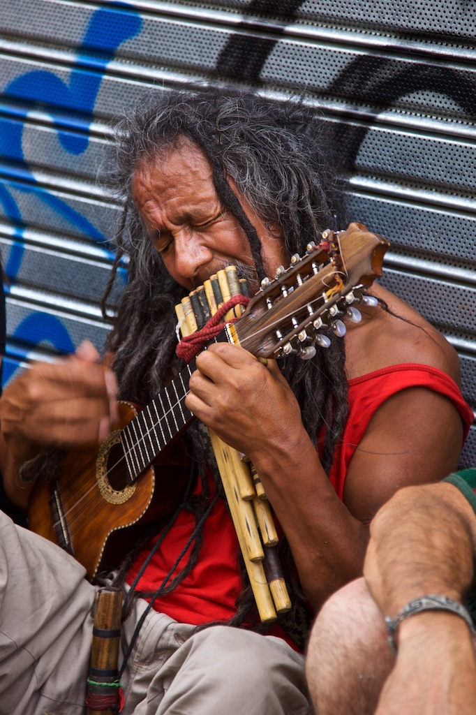 - Street Entertainment: A multi-instrumental artist giving the performance his total dedication. Buenos Aires, Argentina.